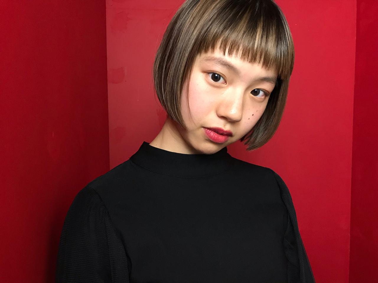 モード ローライト ボブ グラデーションカラー ヘアスタイルや髪型の写真・画像