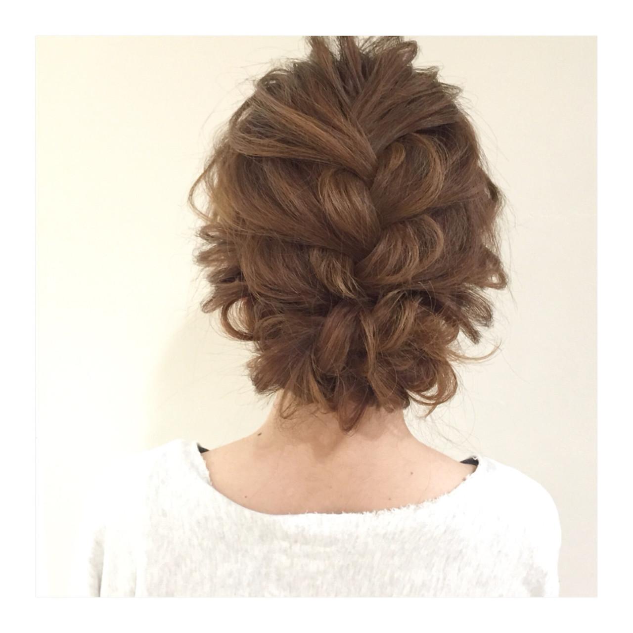 結婚式 編み込み セミロング パーティ ヘアスタイルや髪型の写真・画像 | ヤマモト徹 / CHERIE hair design