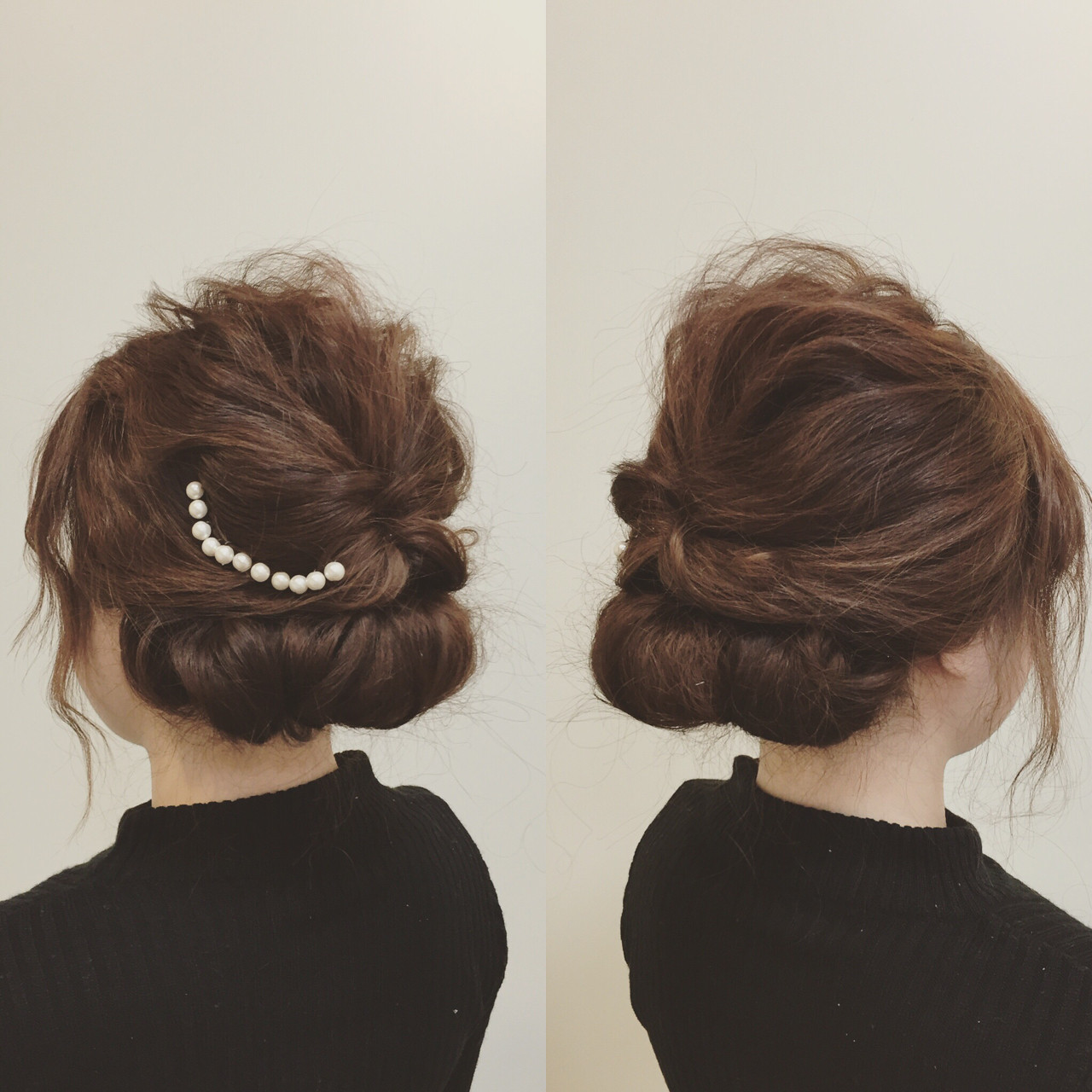 アップスタイル ヘアアレンジ ミディアム 結婚式 ヘアスタイルや髪型の写真・画像 | いまむ / ARES