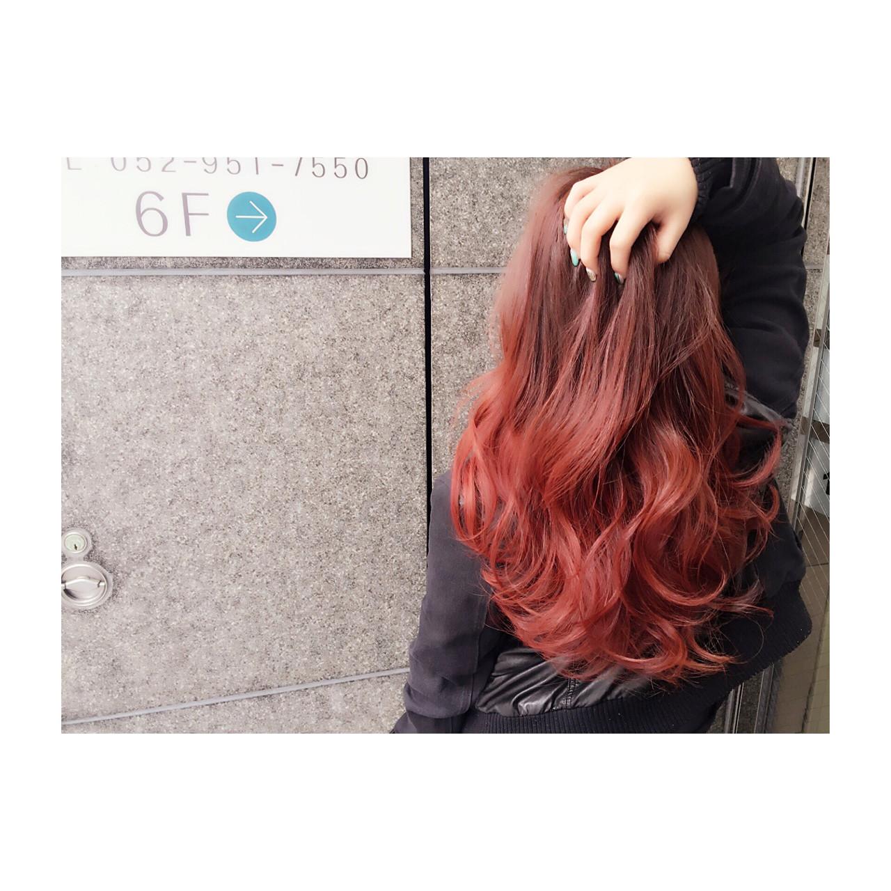 ストリート 外国人風 セミロング レッド ヘアスタイルや髪型の写真・画像 | NORI / LAFUI hair desain