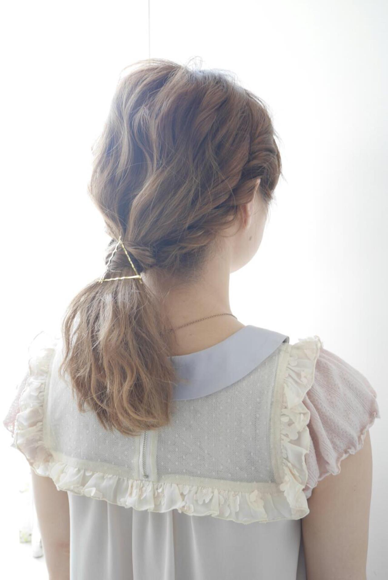 ヘアアレンジ セミロング ハイライト ゆるふわ ヘアスタイルや髪型の写真・画像