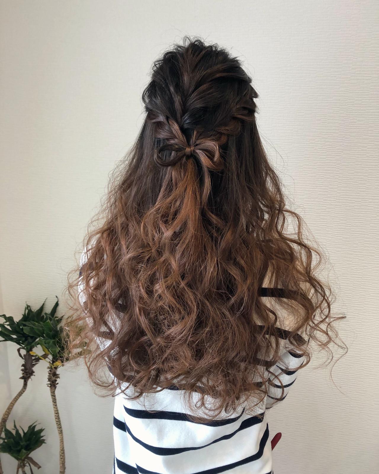 りぼん ハーフアップ ヘアアレンジ ヘアセット ヘアスタイルや髪型の写真・画像