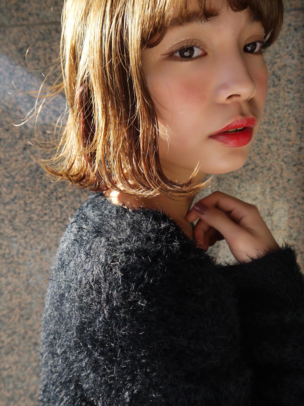 アンニュイほつれヘア フェミニン 外ハネボブ デート ヘアスタイルや髪型の写真・画像