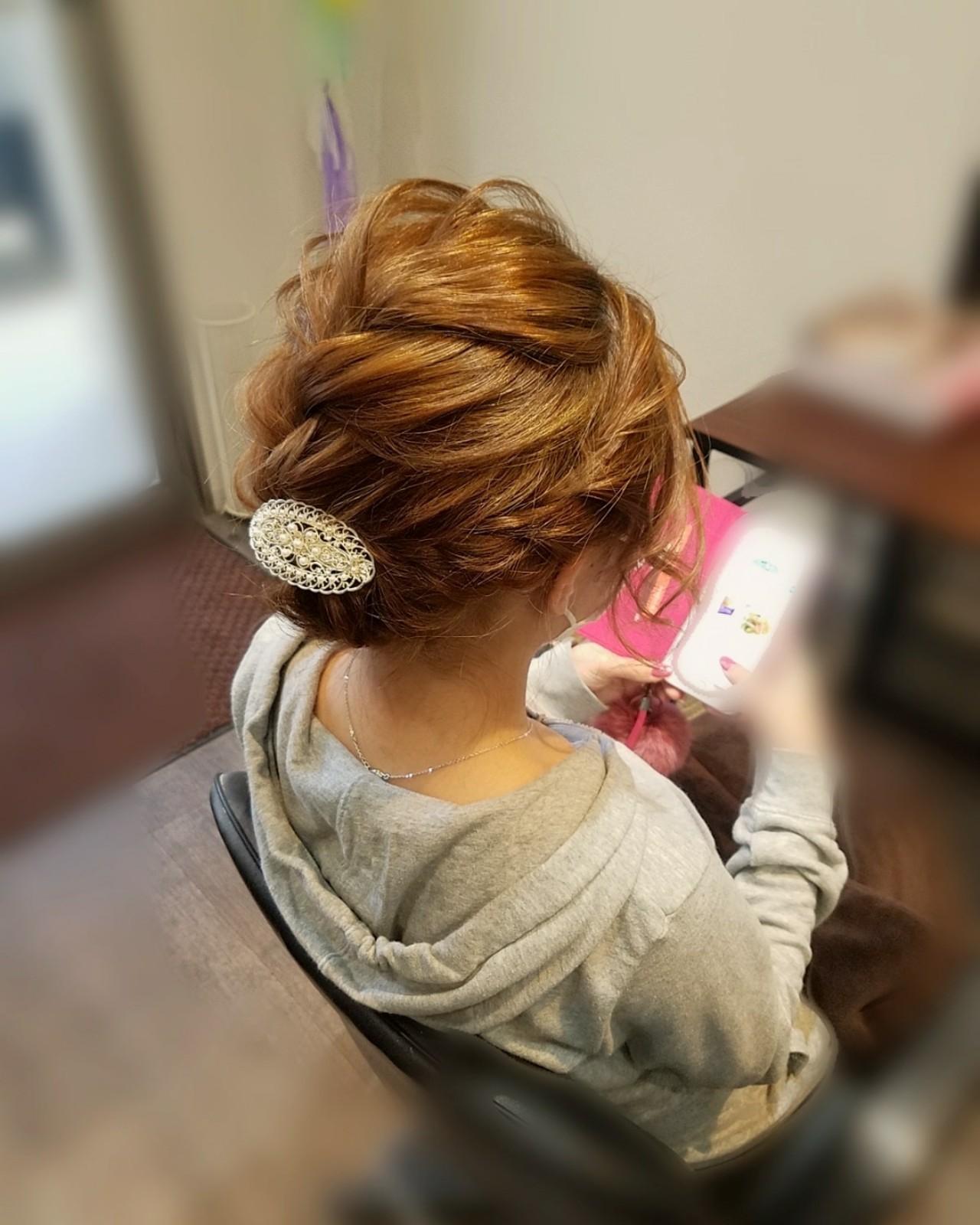 フェミニン アップスタイル ヘアアレンジ 編み込み ヘアスタイルや髪型の写真・画像