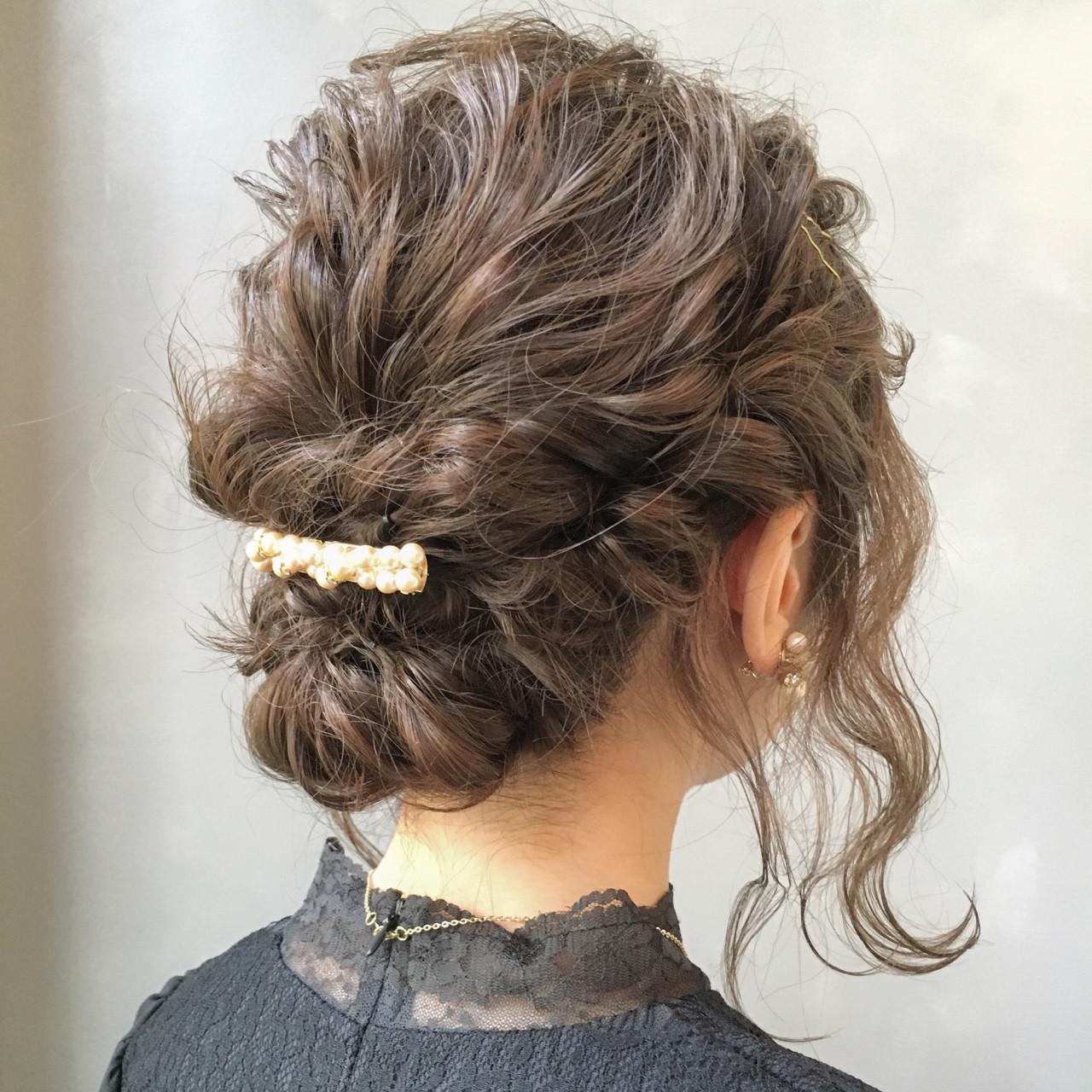 ヘアアレンジ ボブ アッシュ 結婚式 ヘアスタイルや髪型の写真・画像