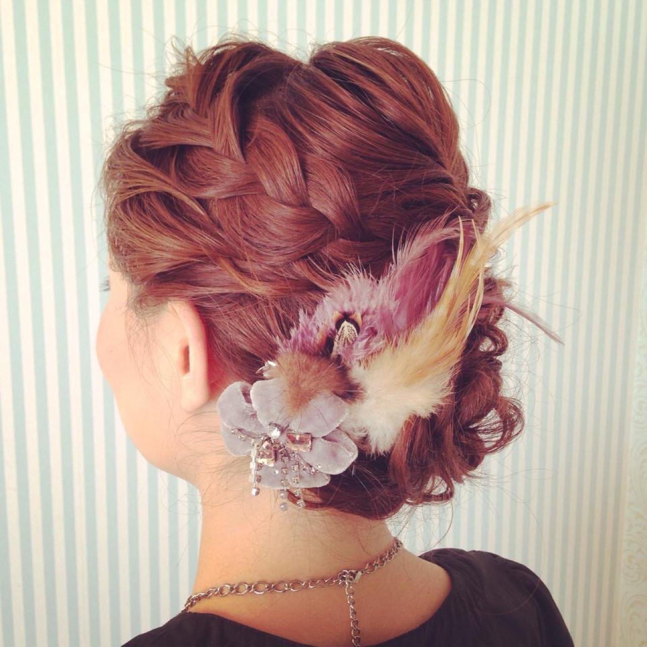 ヘアアレンジ 伸ばしかけ 結婚式 セミロング ヘアスタイルや髪型の写真・画像
