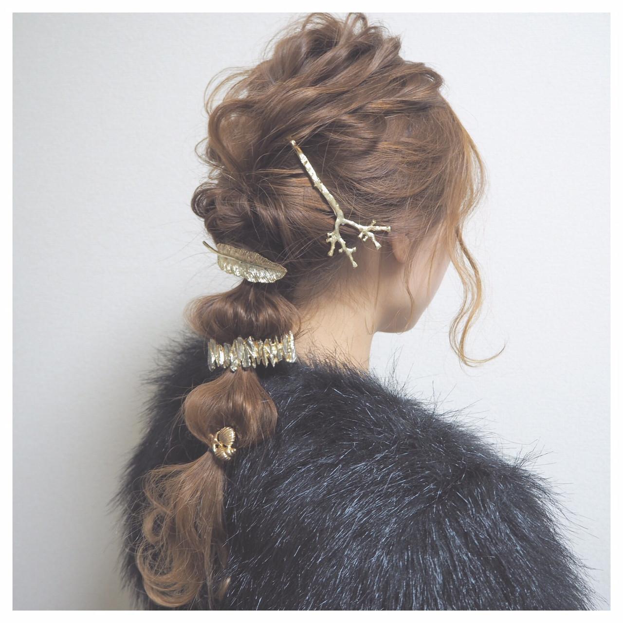 外国人風 セミロング モード ヘアアレンジ ヘアスタイルや髪型の写真・画像