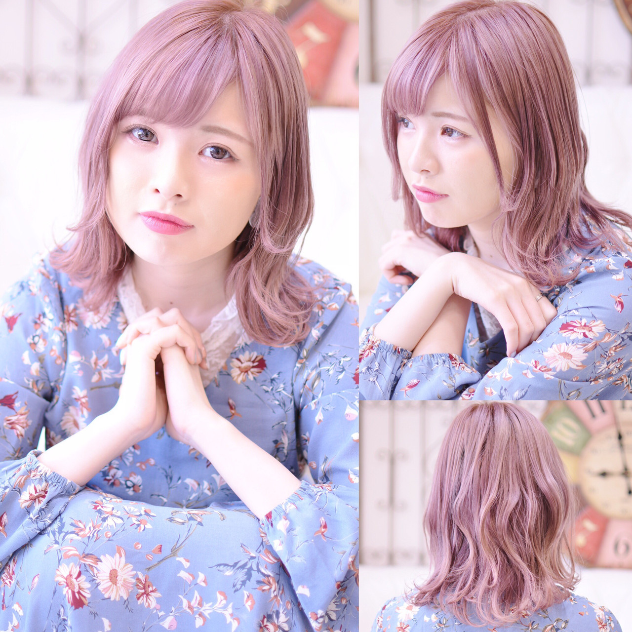 簡単ヘアアレンジ シースルーバング コテ巻き ガーリー ヘアスタイルや髪型の写真・画像 | Shiko Kajihara / メイズ