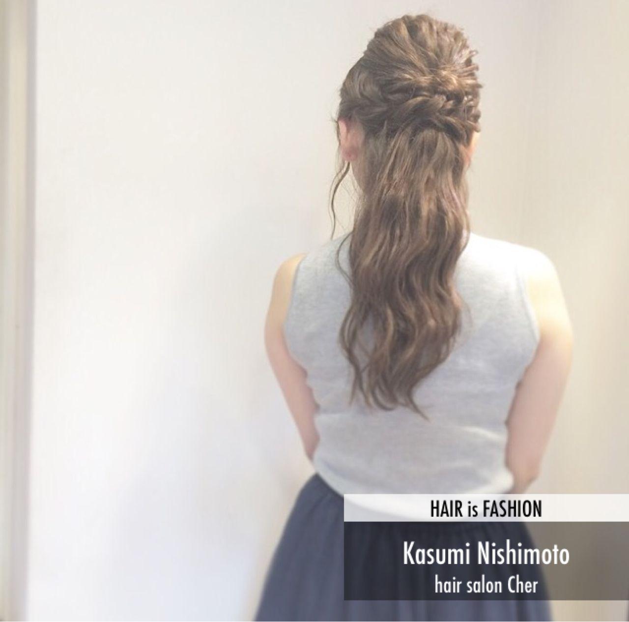 ロング フェミニン ヘアアレンジ 編み込み ヘアスタイルや髪型の写真・画像 | 西本香澄 / hairsalon