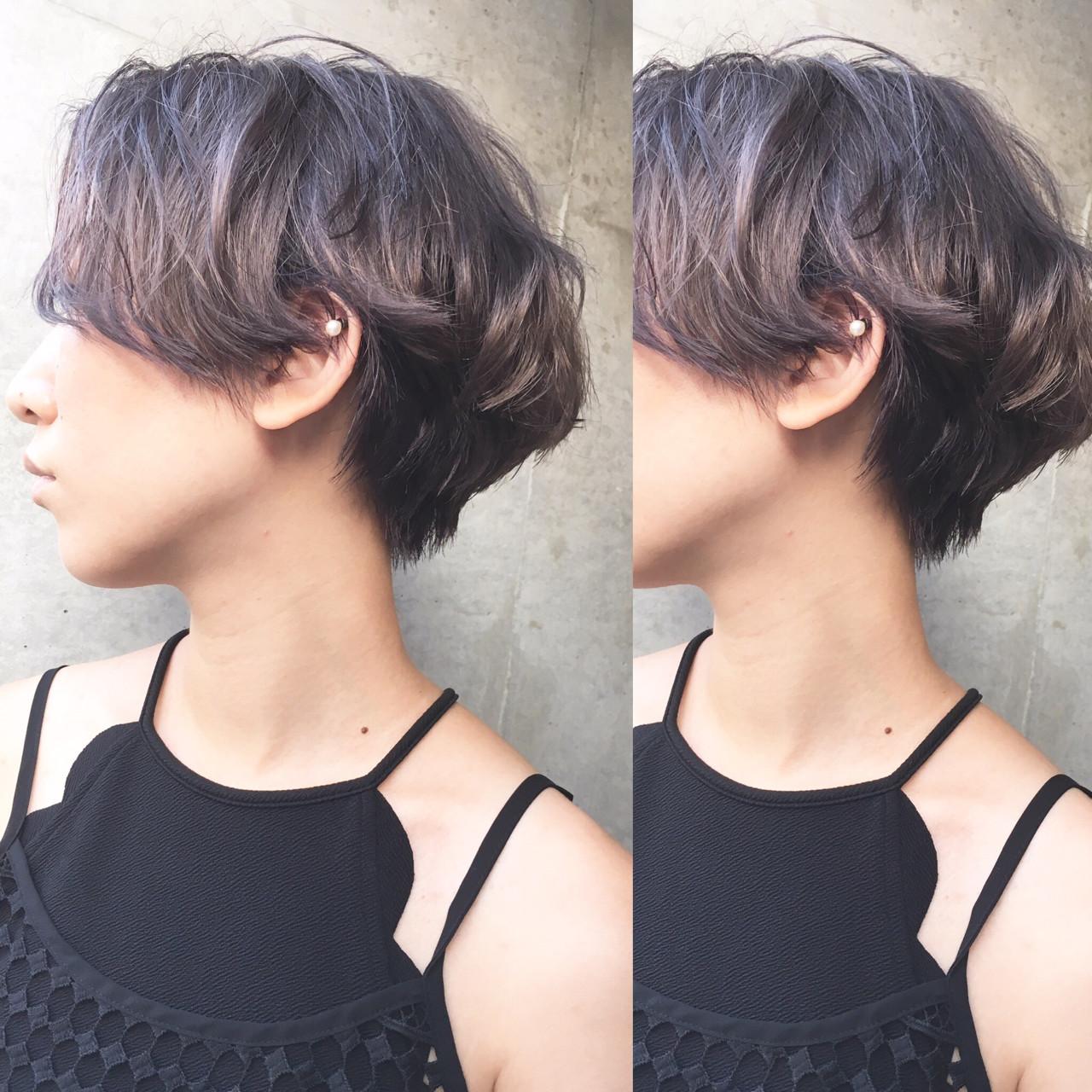ラベンダーアッシュ ストリート ショート グレージュ ヘアスタイルや髪型の写真・画像 | 齊藤知佳/melgina / melgina hair&spa