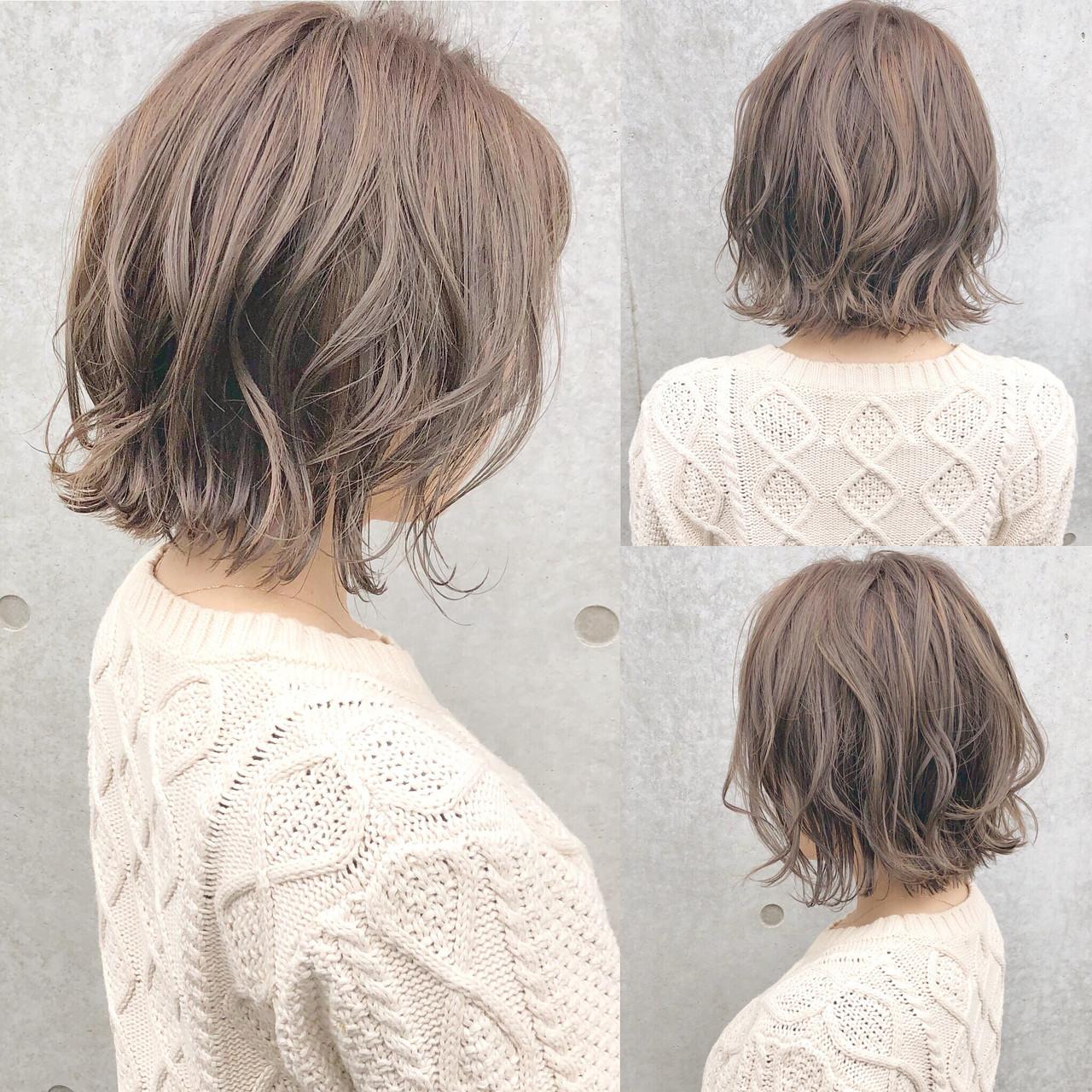 ボブ ナチュラル 簡単ヘアアレンジ デート ヘアスタイルや髪型の写真・画像