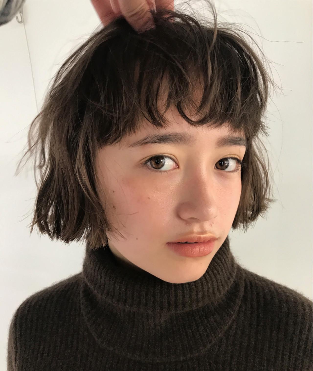 重めバング ブリーチ ボブ アンニュイほつれヘア ヘアスタイルや髪型の写真・画像 | 高橋 忍 / nanuk渋谷店(ナヌーク)