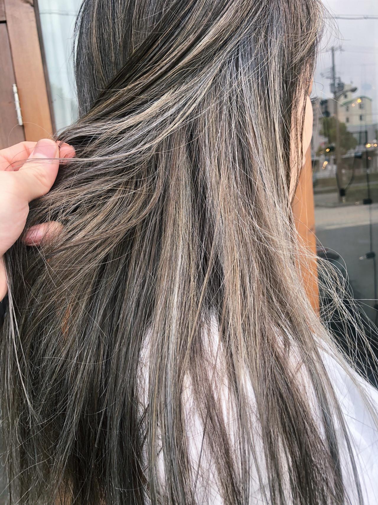 外国人風 ストリート バレイヤージュ セミロング ヘアスタイルや髪型の写真・画像