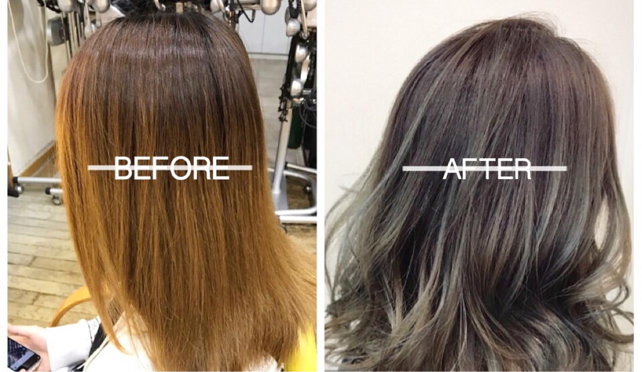 外国人風カラー ハイライト セミロング グラデーションカラー ヘアスタイルや髪型の写真・画像 | 山田大貴 / throb / throb by reve