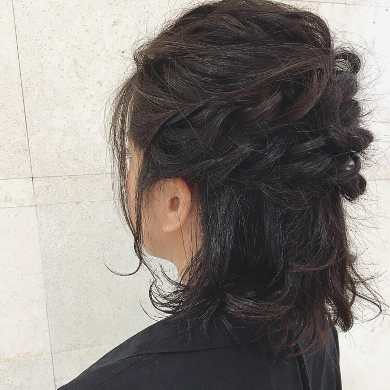 黒髪 デート 大人かわいい ハーフアップ ヘアスタイルや髪型の写真・画像
