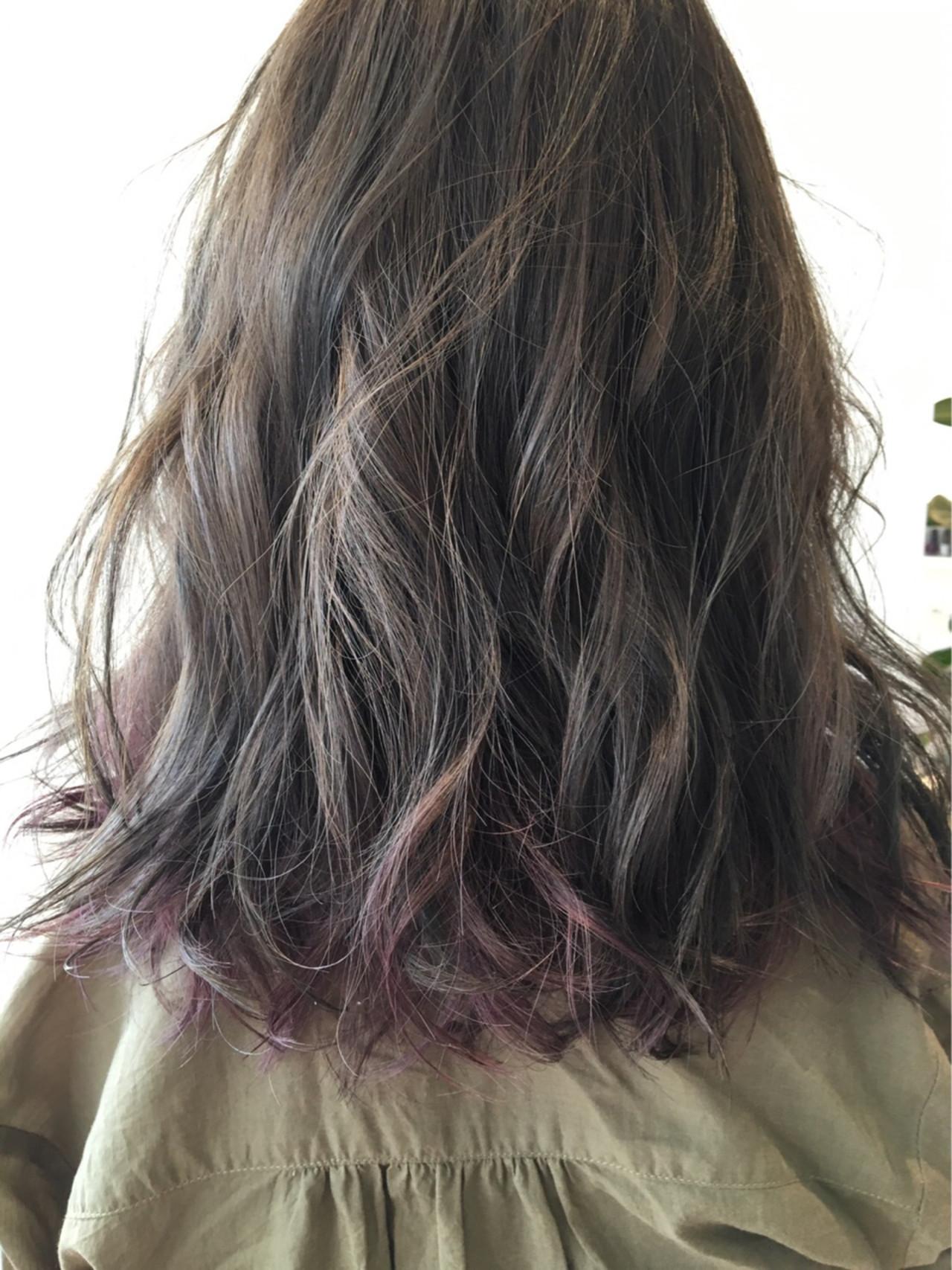 モード パープル セミロング ピンクアッシュ ヘアスタイルや髪型の写真・画像