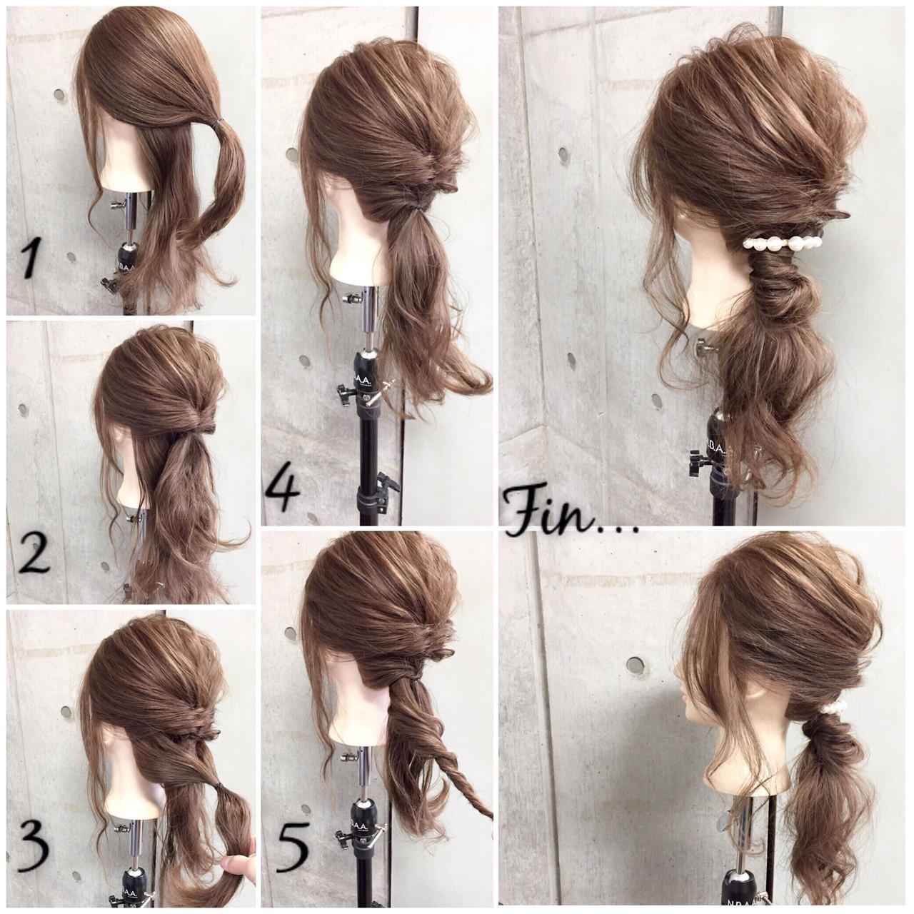 大人女子 セミロング 簡単ヘアアレンジ オフィス ヘアスタイルや髪型の写真・画像