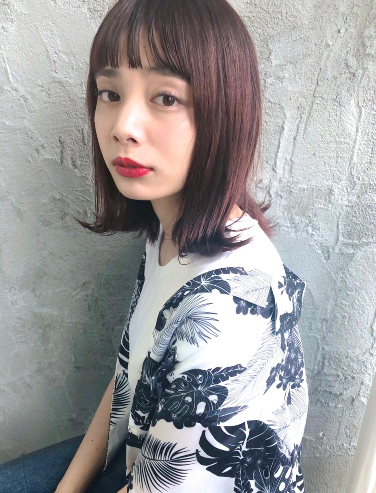 デート ロブ 外ハネ ガーリー ヘアスタイルや髪型の写真・画像