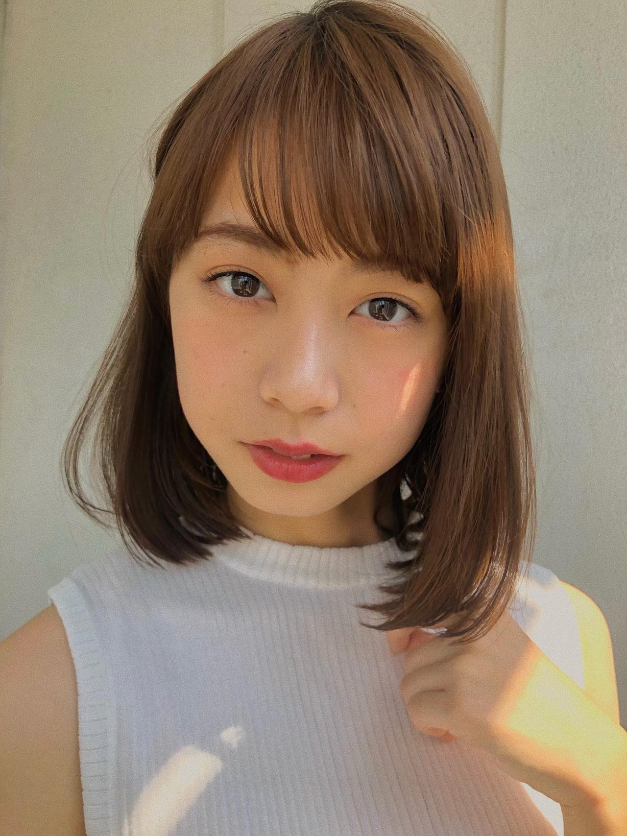 シースルーバング 前髪 前髪あり オフィス ヘアスタイルや髪型の写真・画像 | 鈴木ゆうすけ / GARDEN  harajuku