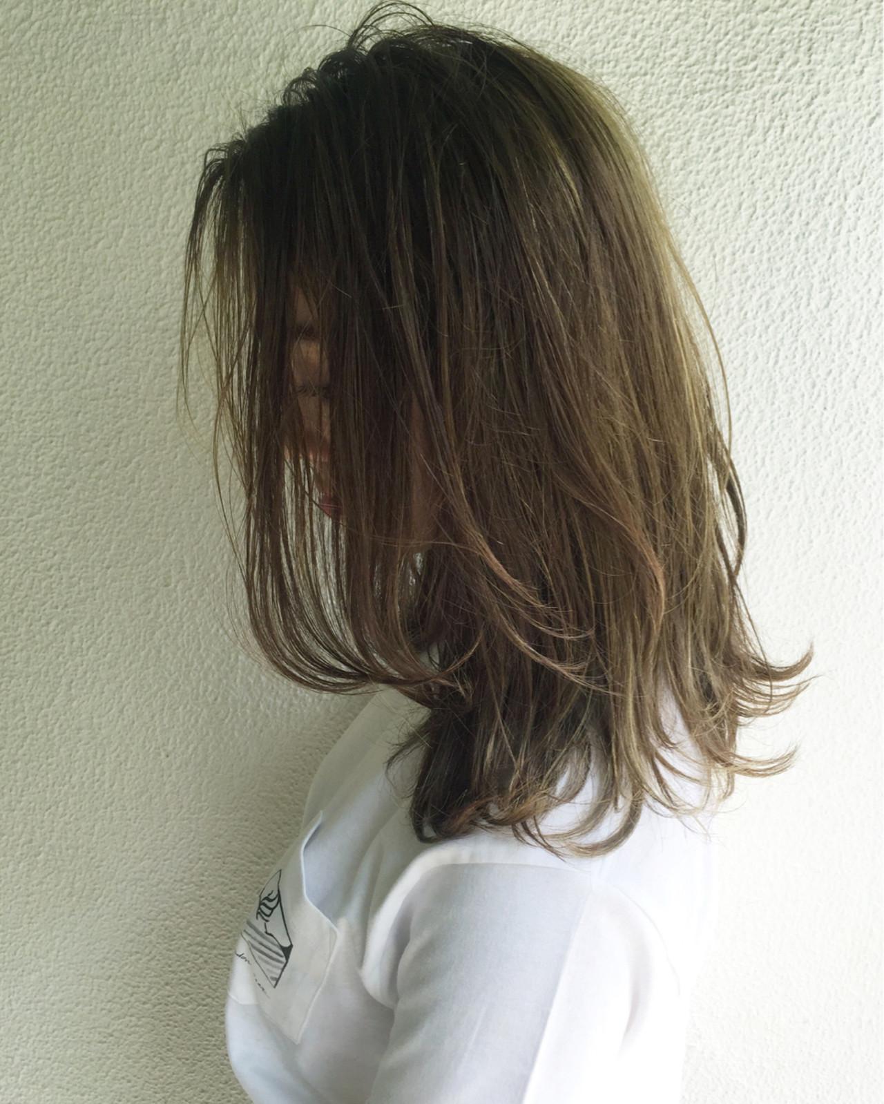 ハイライト グラデーションカラー ナチュラル 外国人風 ヘアスタイルや髪型の写真・画像