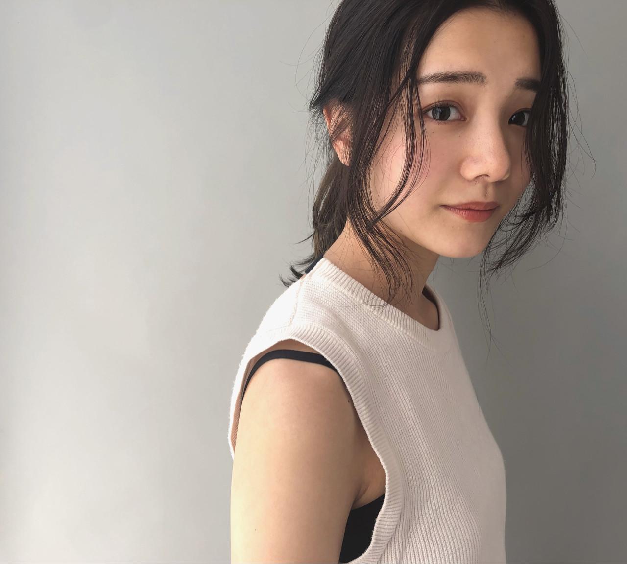 前髪あり 簡単ヘアアレンジ ヘアアレンジ 抜け感 ヘアスタイルや髪型の写真・画像 | 小走 祥菜 / tricca daikanyama