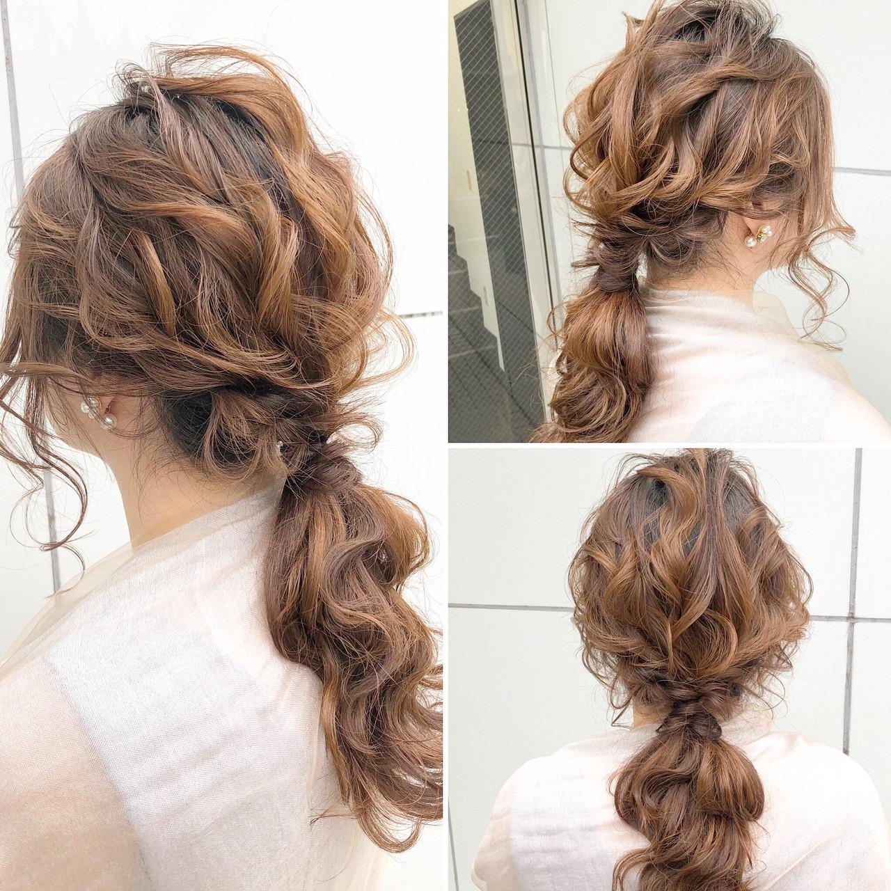 ナチュラル ローポニーテール ヘアアレンジ ポニーテール ヘアスタイルや髪型の写真・画像