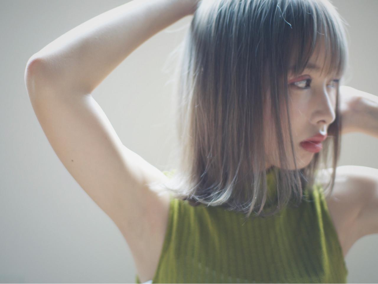 アッシュ ボブ グラデーションカラー 外国人風 ヘアスタイルや髪型の写真・画像 | 金子大企 / HOMIE TOKYO