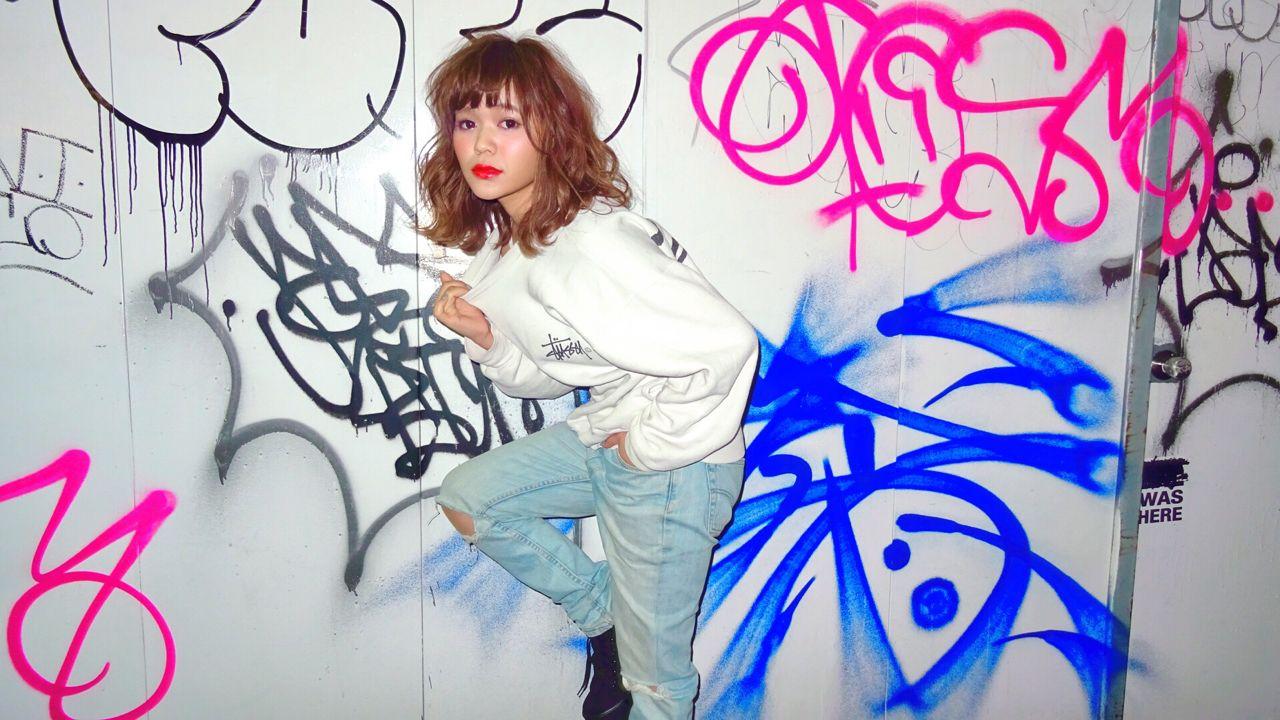 ストリート ウェットヘア 甘辛MIX ストレート ヘアスタイルや髪型の写真・画像
