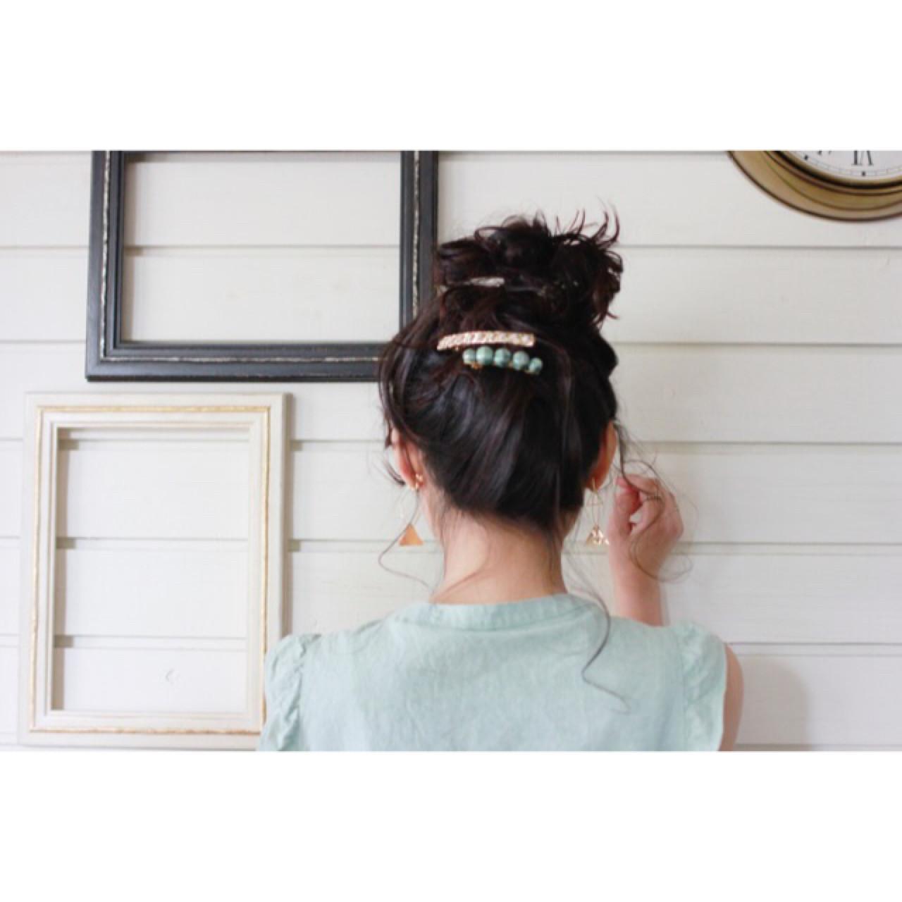 大人かわいい ミディアム ショート 簡単ヘアアレンジ ヘアスタイルや髪型の写真・画像