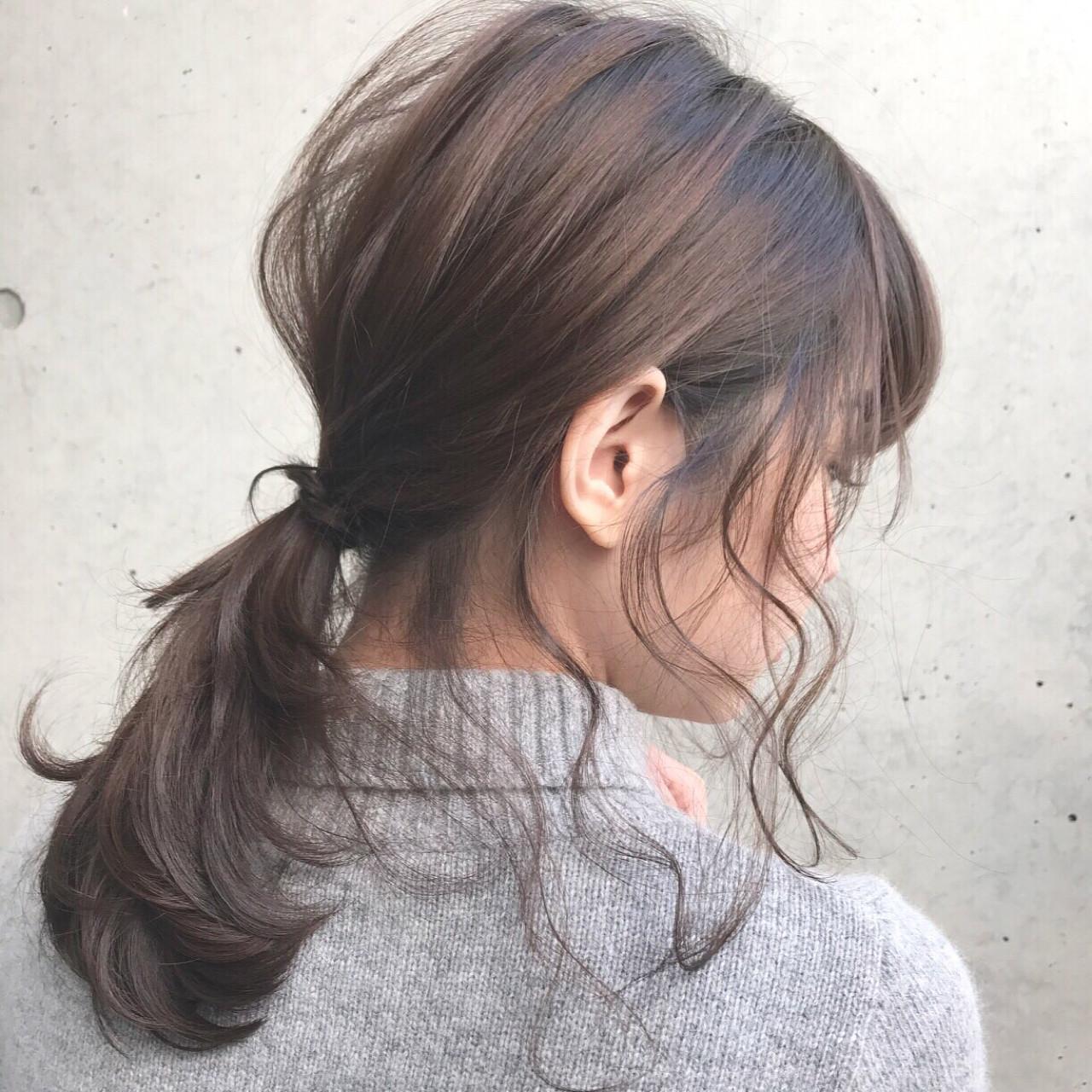 ナチュラル ミディアム ローポニーテール ポニーテール ヘアスタイルや髪型の写真・画像