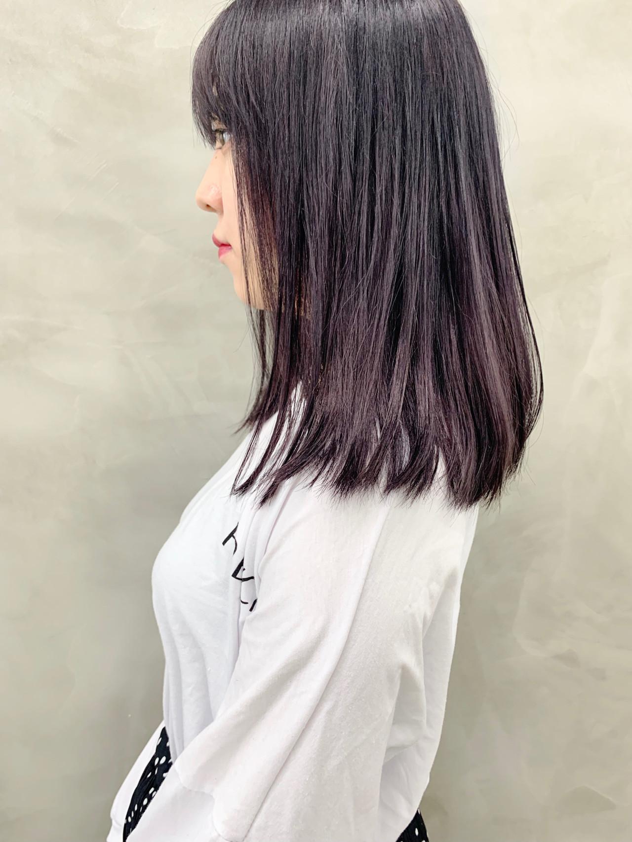 ミディアム ラベンダーカラー ブリーチ ラベンダーグレージュ ヘアスタイルや髪型の写真・画像
