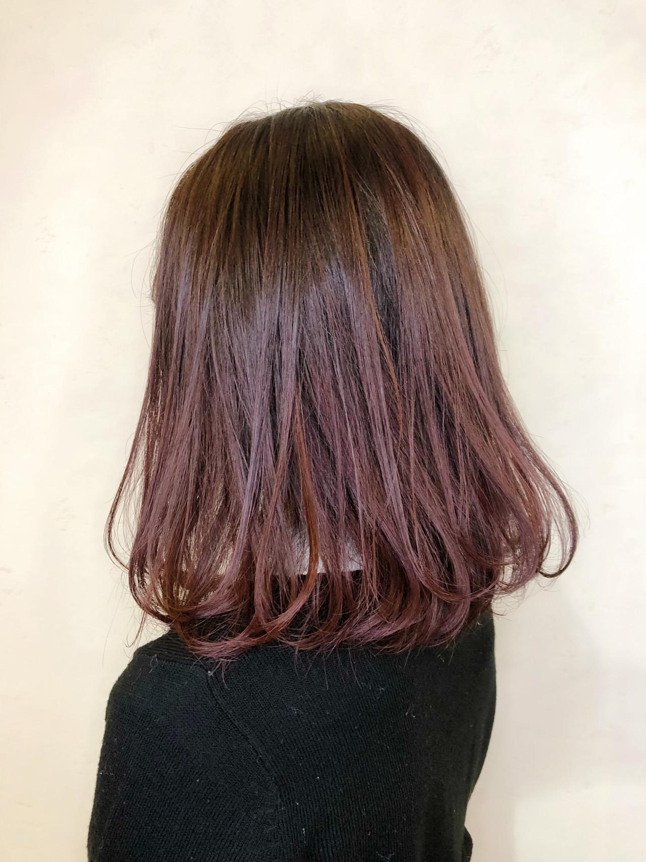 ガーリー デート ピンク ボブ ヘアスタイルや髪型の写真・画像
