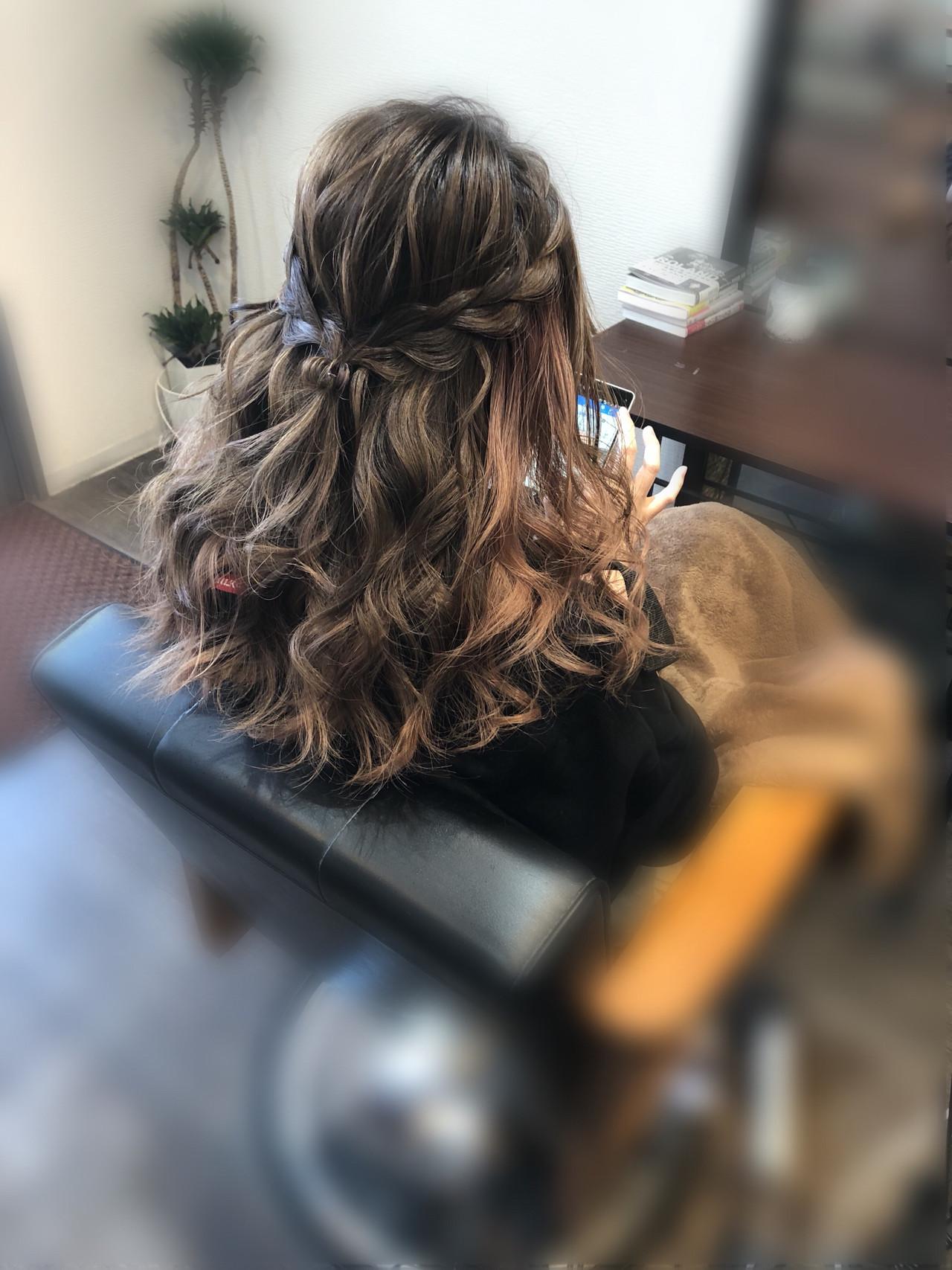 ハーフアップ 編み込みヘア ヘアアレンジ セミロング ヘアスタイルや髪型の写真・画像 | mai / HAIR SALON STELLA