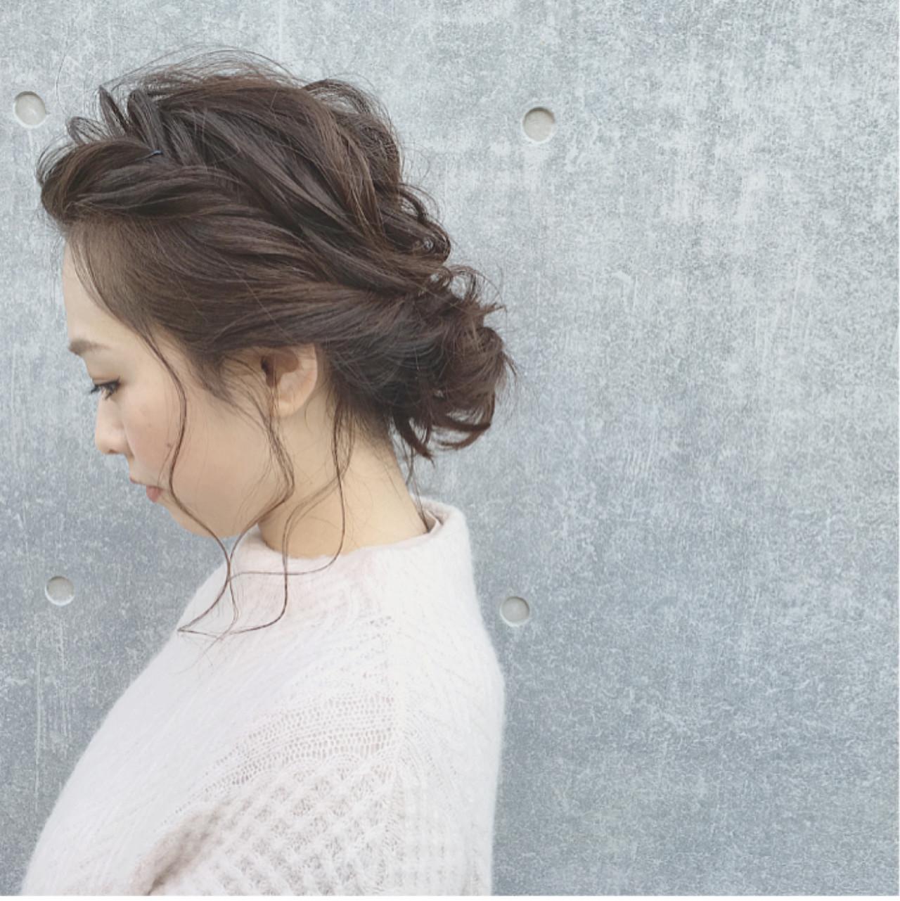 ガーリー ミディアム ヘアアレンジ ナチュラル ヘアスタイルや髪型の写真・画像