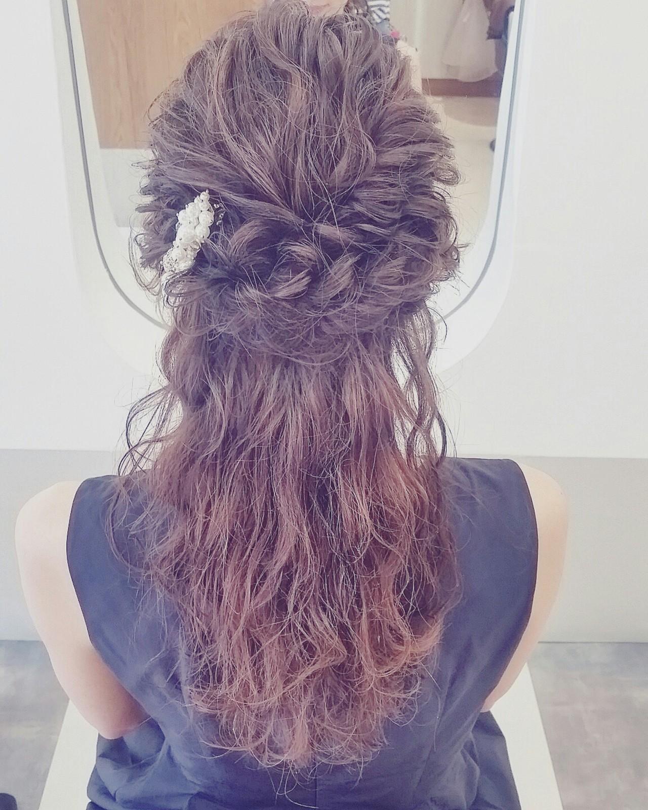 ハーフアップ ショート 簡単ヘアアレンジ 編み込み ヘアスタイルや髪型の写真・画像