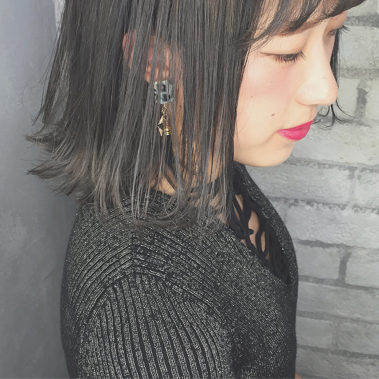 外ハネ ボブ 外国人風 アッシュ ヘアスタイルや髪型の写真・画像