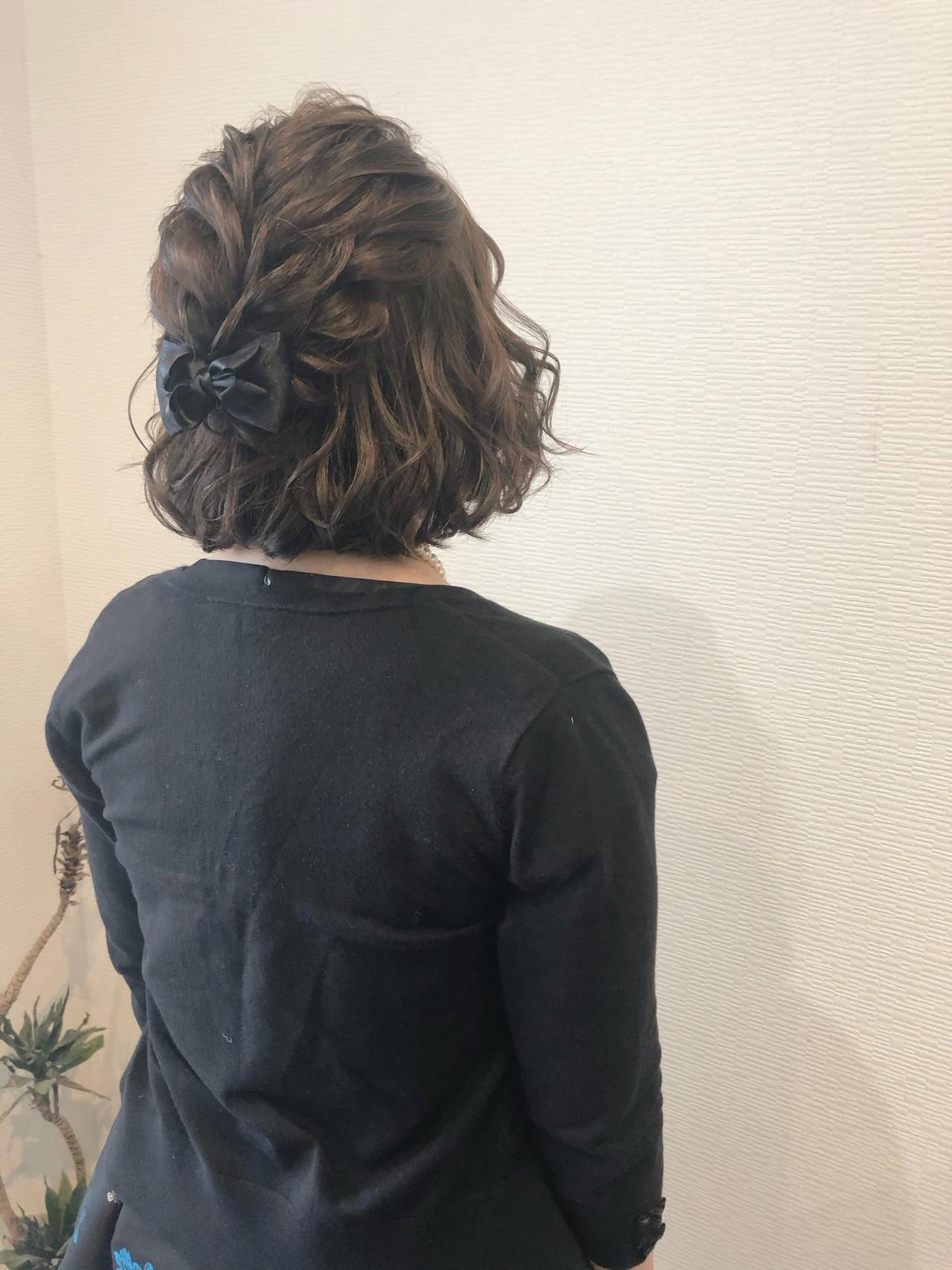 ボブ ボブアレンジ フェミニン ハーフアップ ヘアスタイルや髪型の写真・画像 | mai / HAIR SALON STELLA