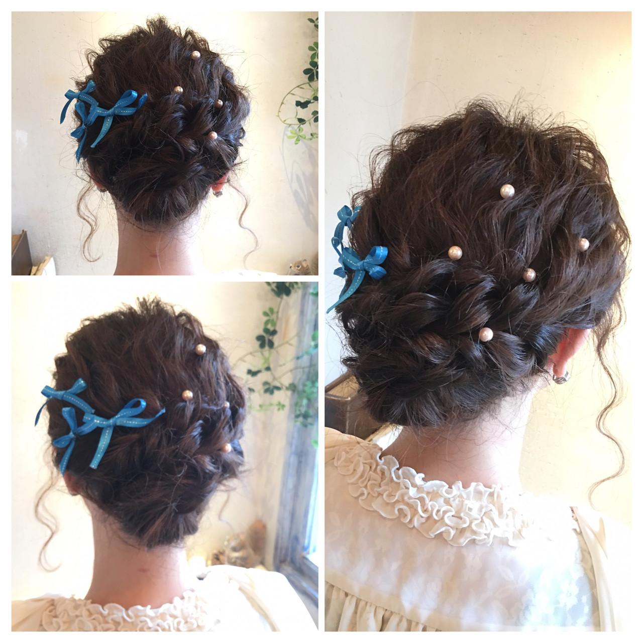 ゆるふわ アップスタイル フェミニン パーティ ヘアスタイルや髪型の写真・画像