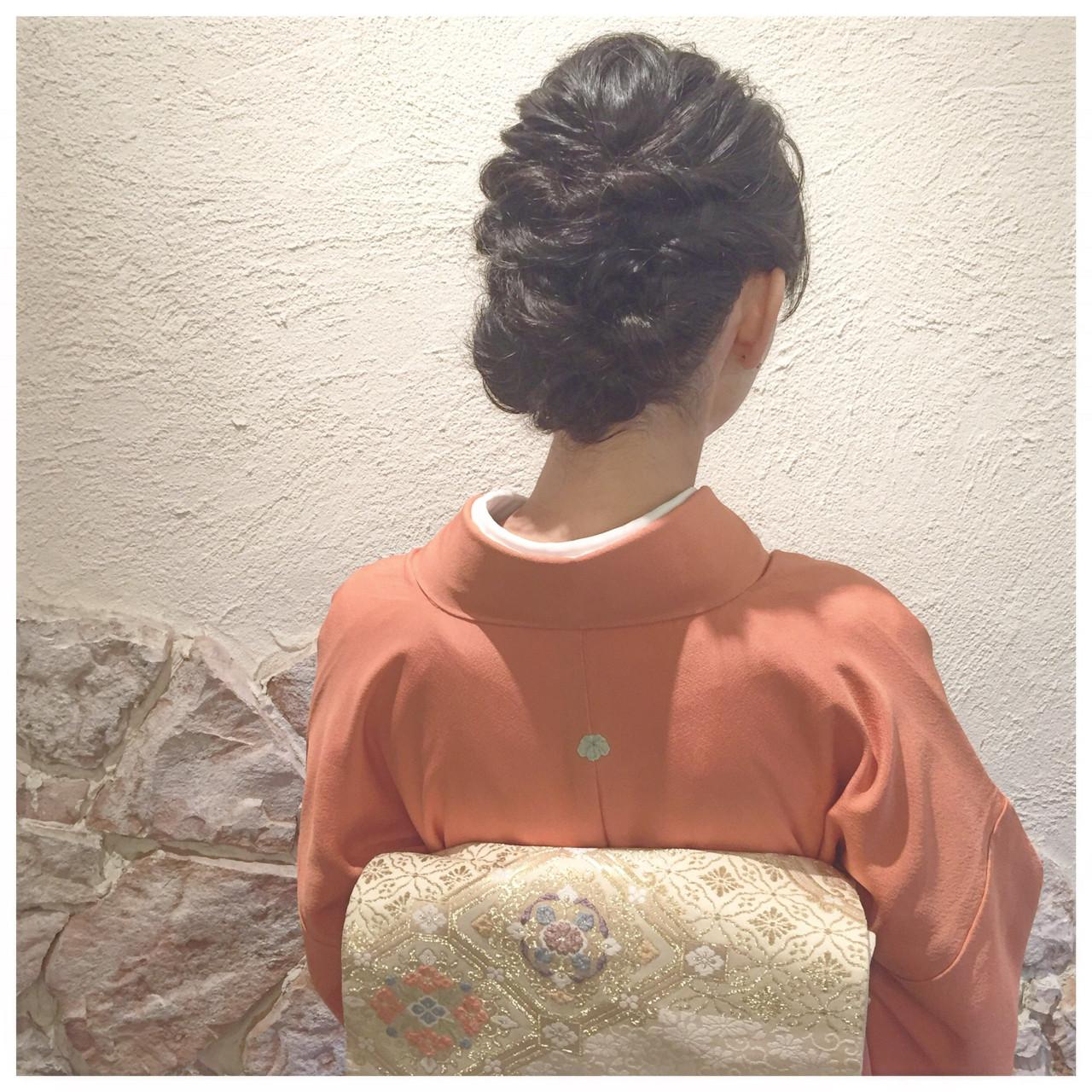 ミディアム ヘアアレンジ 結婚式 エレガント ヘアスタイルや髪型の写真・画像