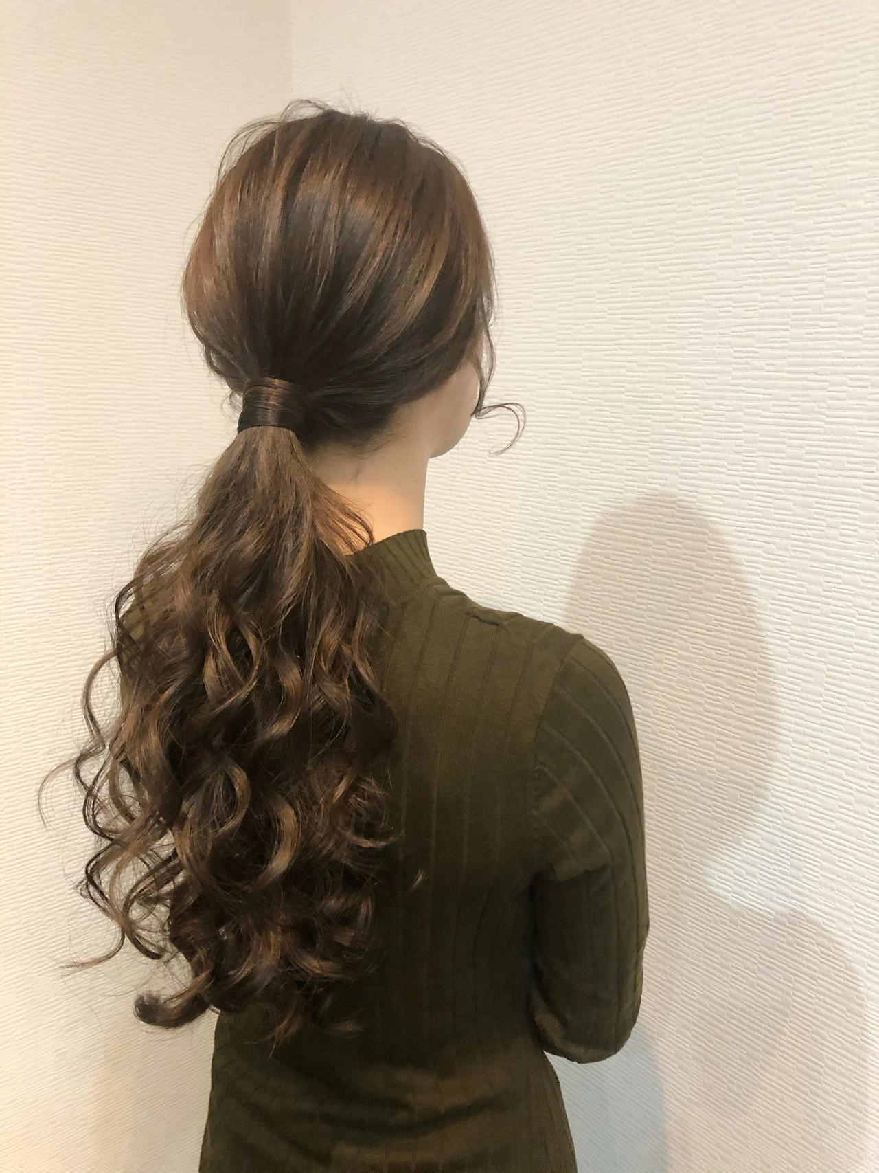 ローポニーテール 結婚式 ポニーテールアレンジ ロング ヘアスタイルや髪型の写真・画像