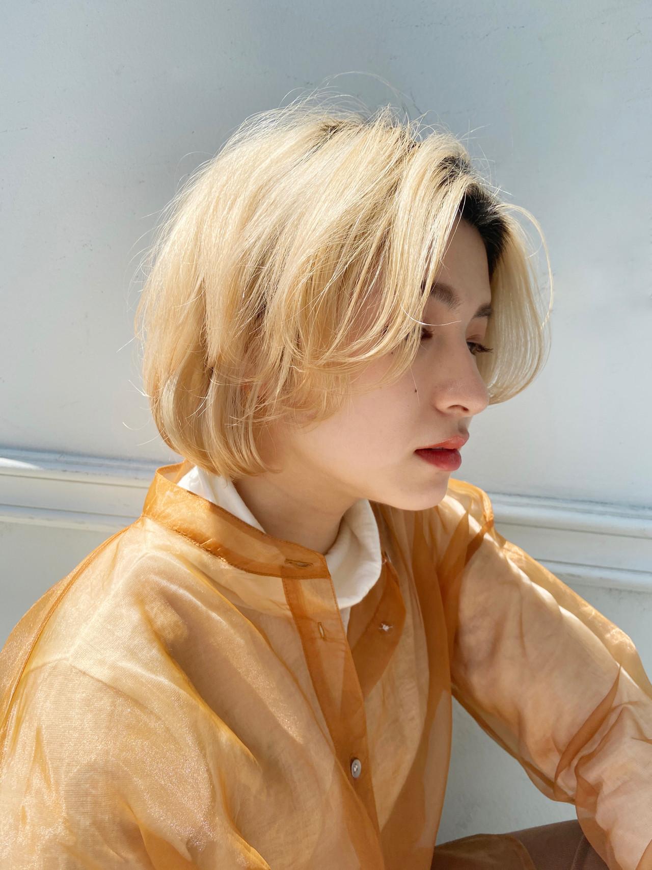 ボブ ブリーチオンカラー モード ハイトーンボブ ヘアスタイルや髪型の写真・画像 | 元橋啓太 / snob
