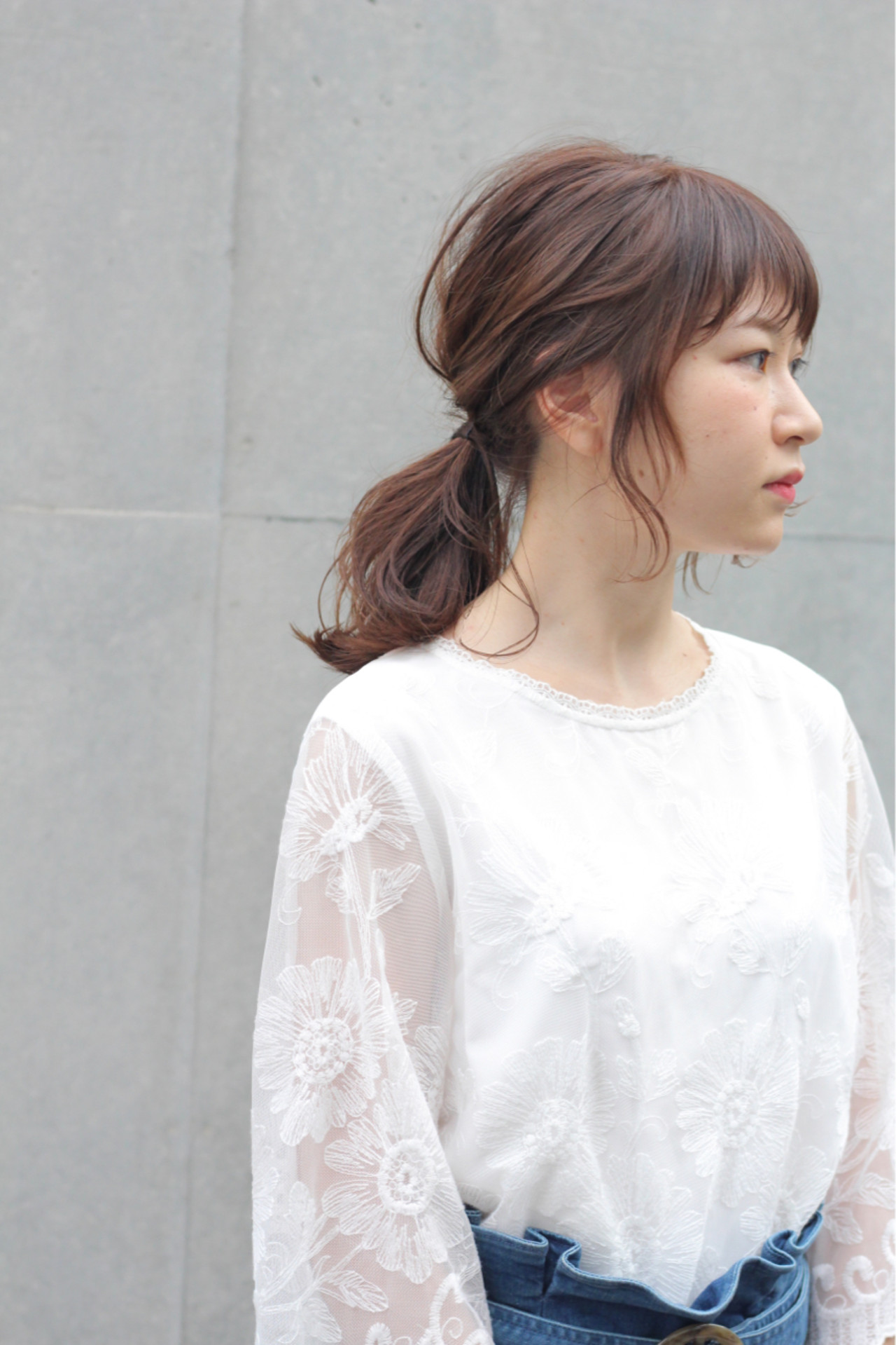 デート ミディアム 簡単ヘアアレンジ ナチュラル ヘアスタイルや髪型の写真・画像