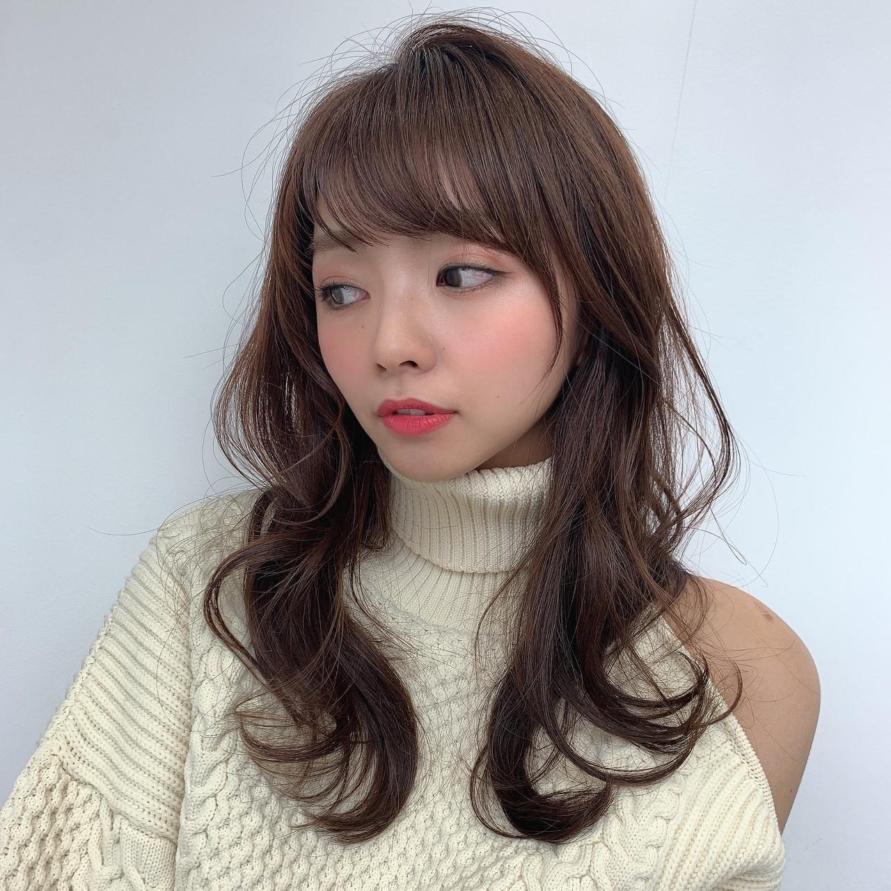小顔 透明感カラー 似合わせカット ロング ヘアスタイルや髪型の写真・画像
