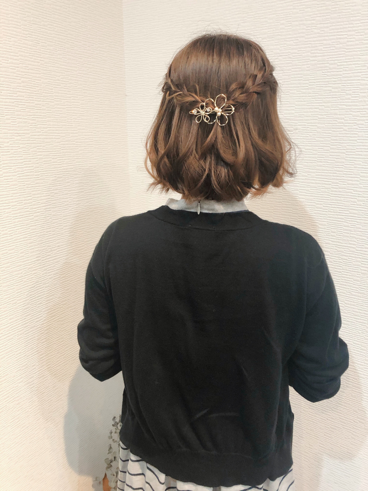 ハーフアップ 編み込み ショートアレンジ ショート ヘアスタイルや髪型の写真・画像
