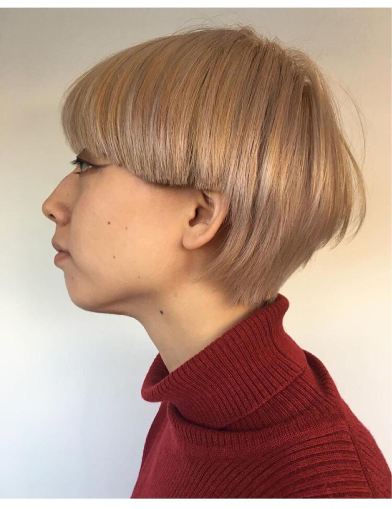 ブリーチ ショート モード グレージュ ヘアスタイルや髪型の写真・画像