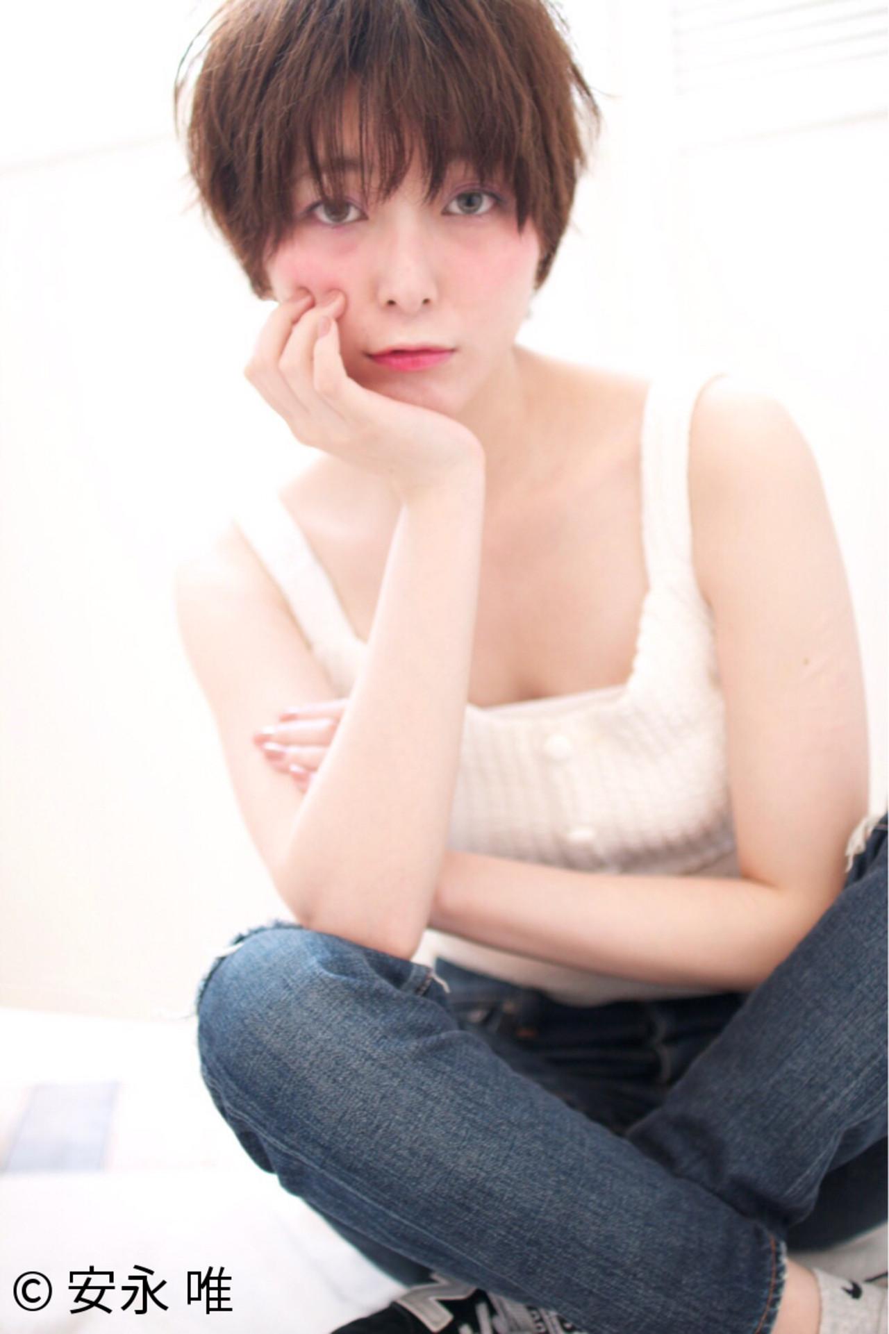ピュア ガーリー ショート ストレート ヘアスタイルや髪型の写真・画像