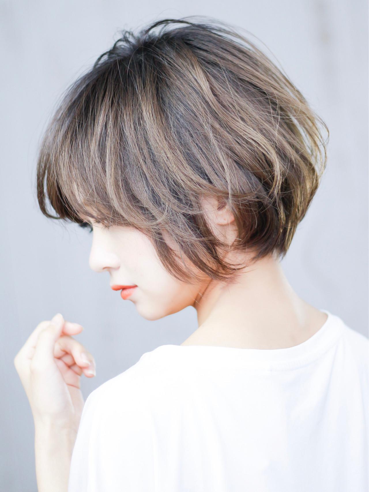 ハンサムショート ショートボブ パーマ フェミニン ヘアスタイルや髪型の写真・画像