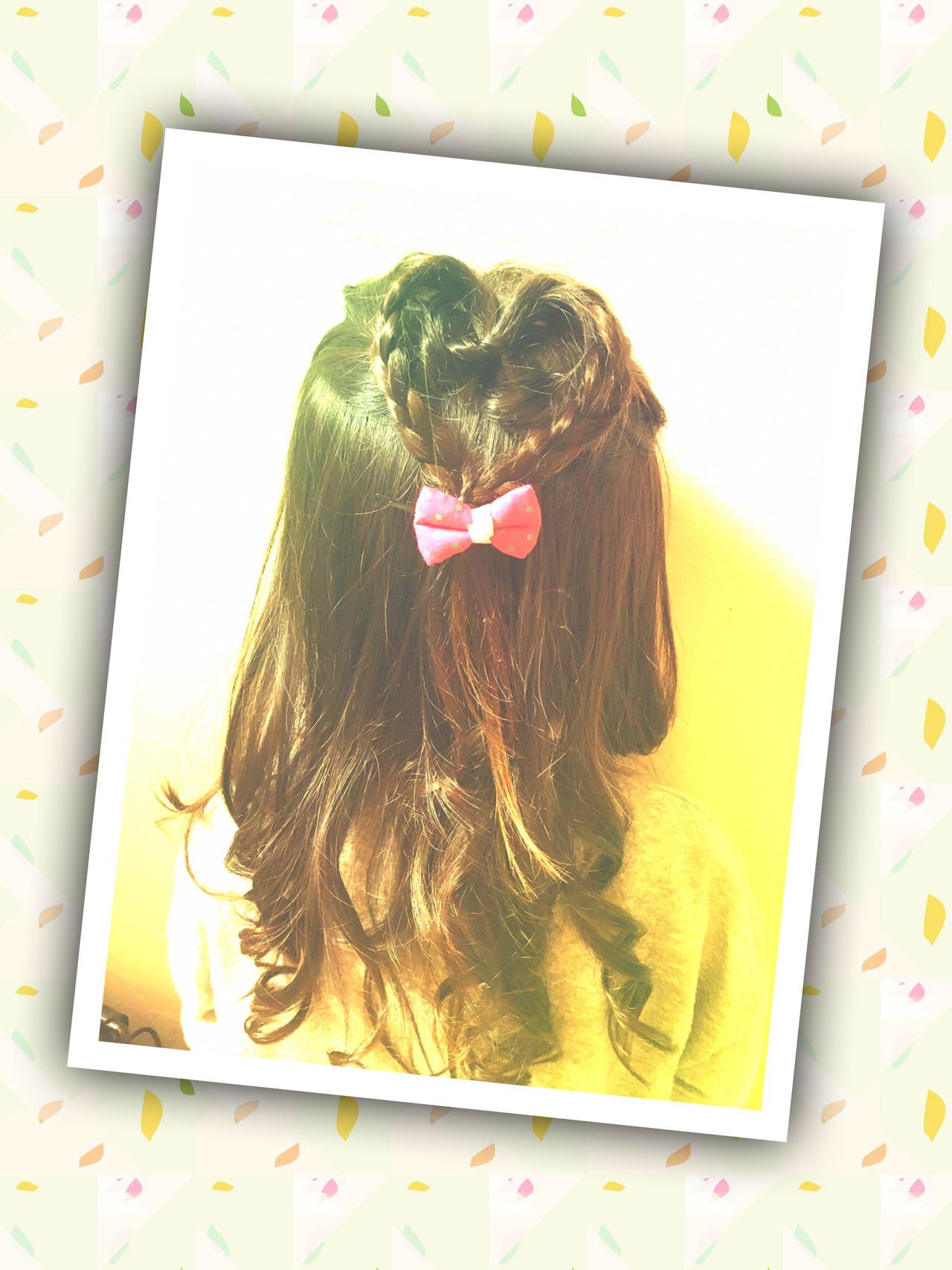 簡単ヘアアレンジ キッズ ヘアセット ガーリー ヘアスタイルや髪型の写真・画像   nayuka furugoori / OLIBAHAIR