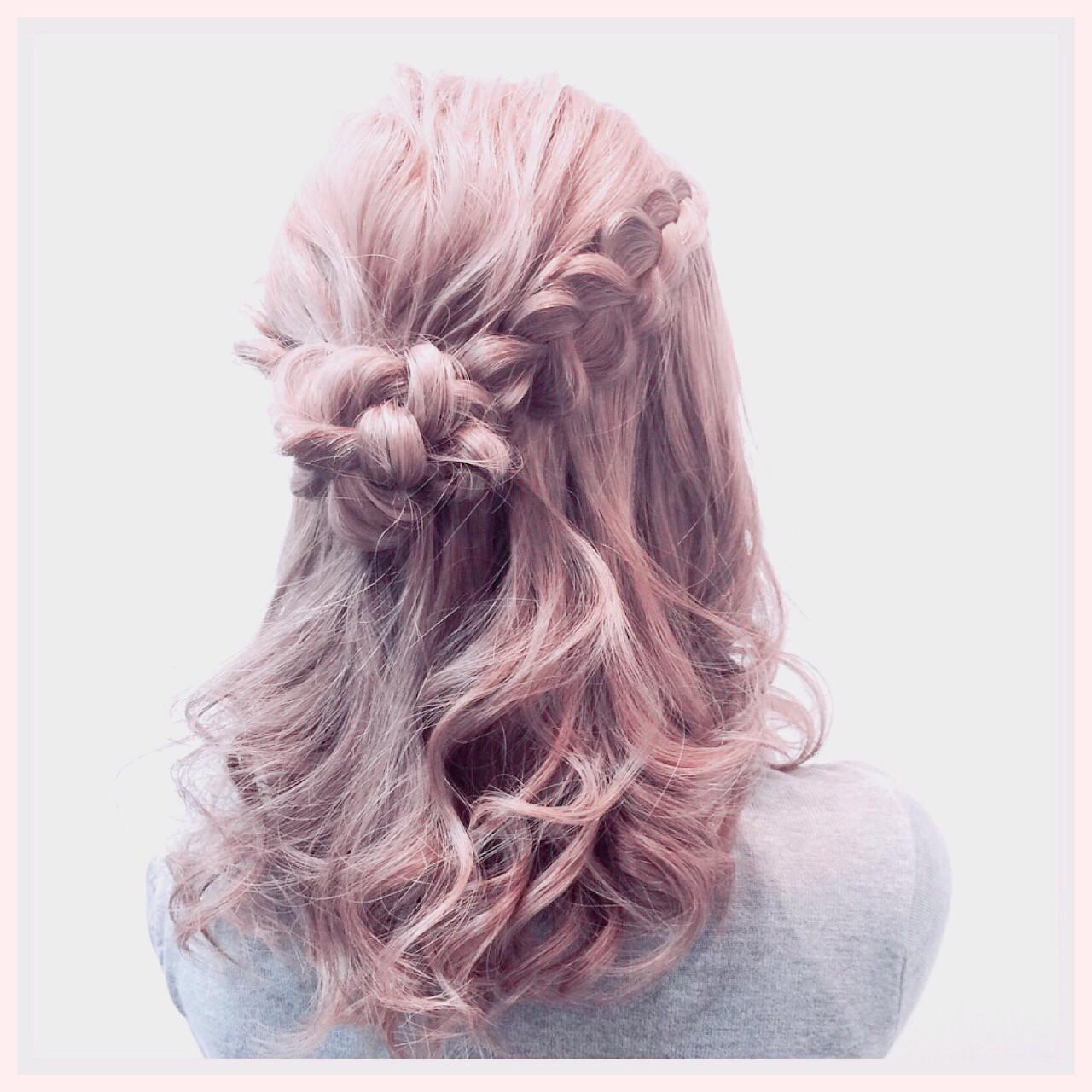 編み込み ヘアアレンジ ロング ハーフアップ ヘアスタイルや髪型の写真・画像