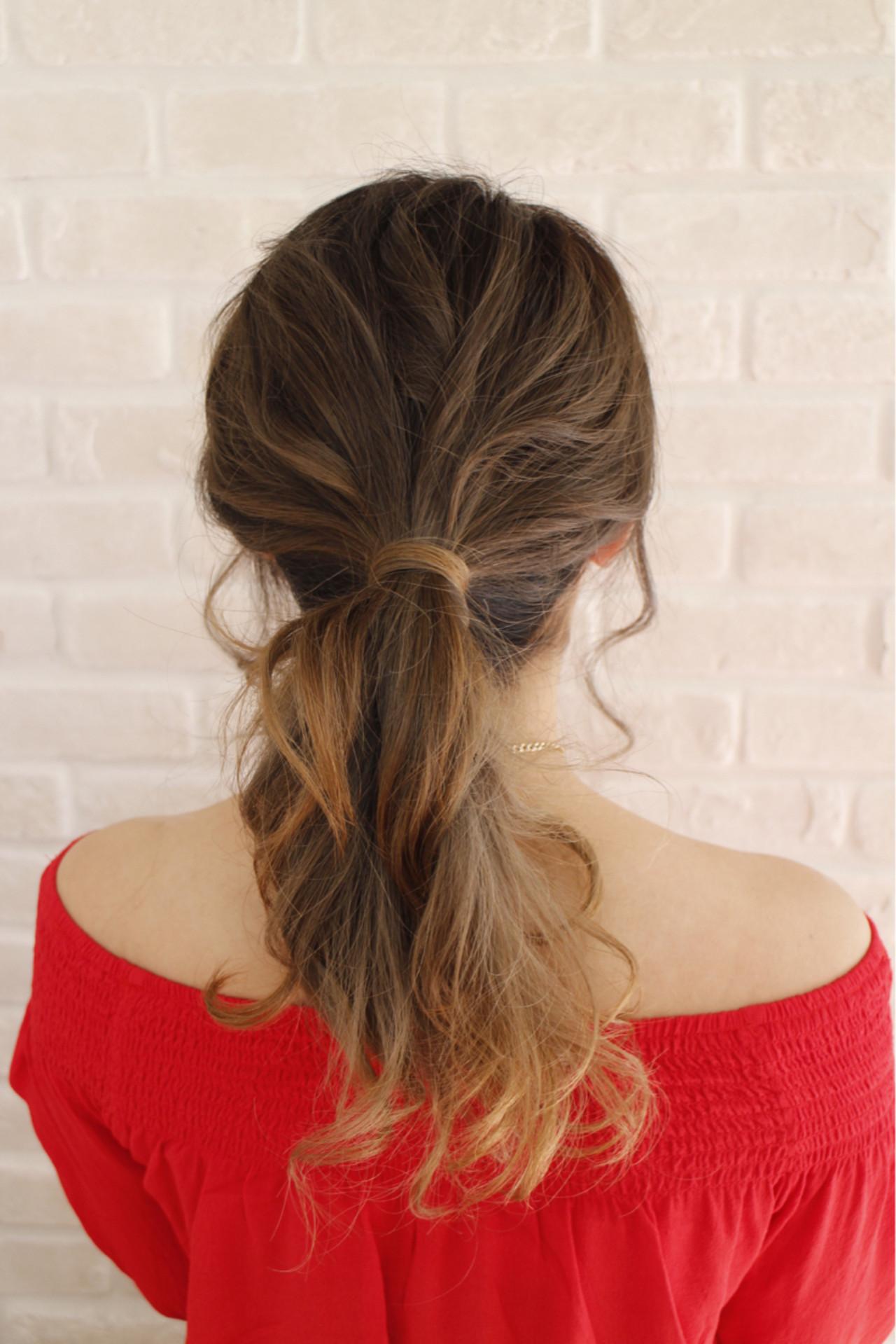 セミロング グラデーションカラー 外国人風 簡単ヘアアレンジ ヘアスタイルや髪型の写真・画像